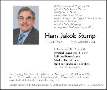 Traueranzeige von Hans Jakob Stump von Zeitung am Sonntag