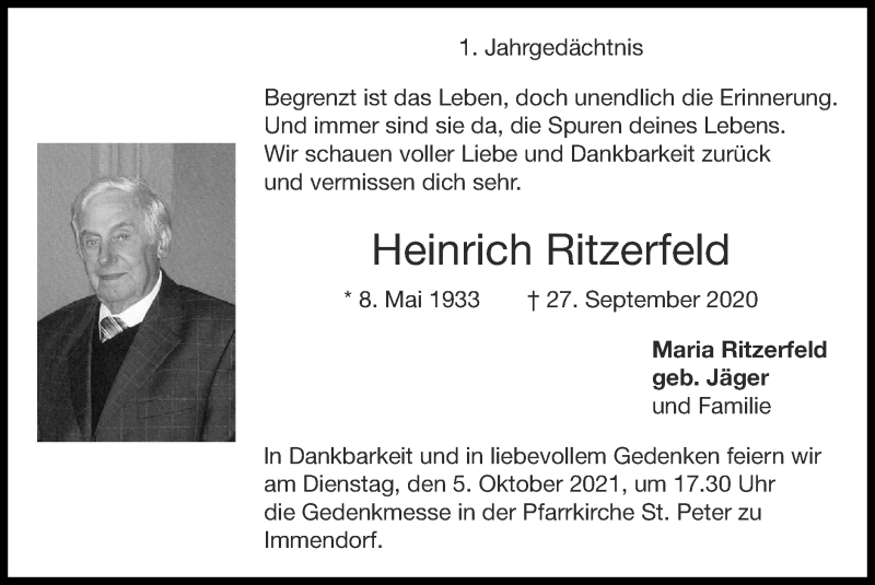 Traueranzeige für Heinrich Ritzerfeld vom 03.10.2021 aus Zeitung am Sonntag