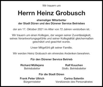 Traueranzeige von Heinz Grobusch von Zeitung am Sonntag