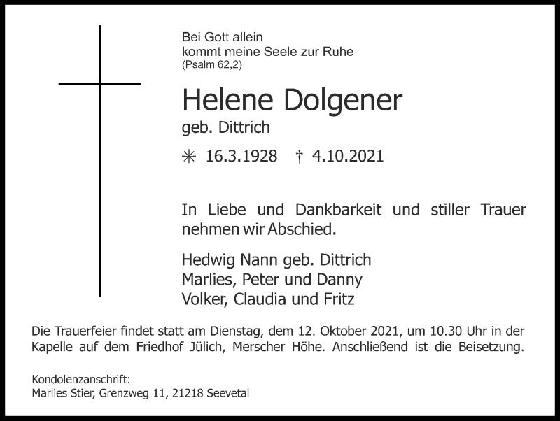 Traueranzeige für Helene Dolgener vom 10.10.2021 aus Zeitung am Sonntag