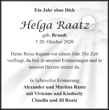 Traueranzeige von Helga Raatz von Zeitung am Sonntag