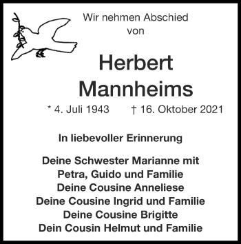 Traueranzeige von Herbert Mannheims von Zeitung am Sonntag