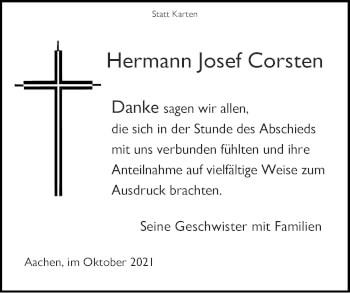 Traueranzeige von Hermann Josef Corsten von Zeitung am Sonntag
