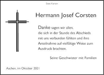Traueranzeige von Hermann Josef Corsten von Aachener Zeitung / Aachener Nachrichten