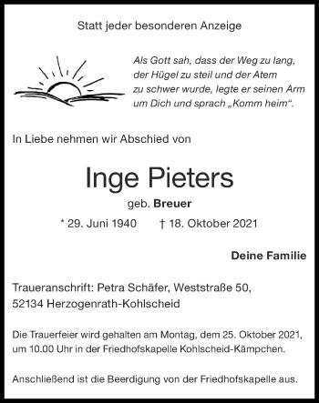 Traueranzeige von Inge Pieters von Zeitung am Sonntag