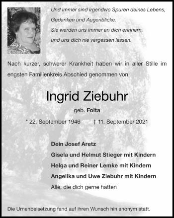 Traueranzeige von Ingrid Ziebuhr von Zeitung am Sonntag
