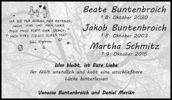Traueranzeige von Jakob Buntenbroich von Zeitung am Sonntag