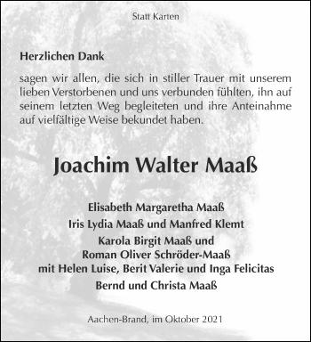Traueranzeige von Joachim Walter Maaß von Aachener Zeitung / Aachener Nachrichten