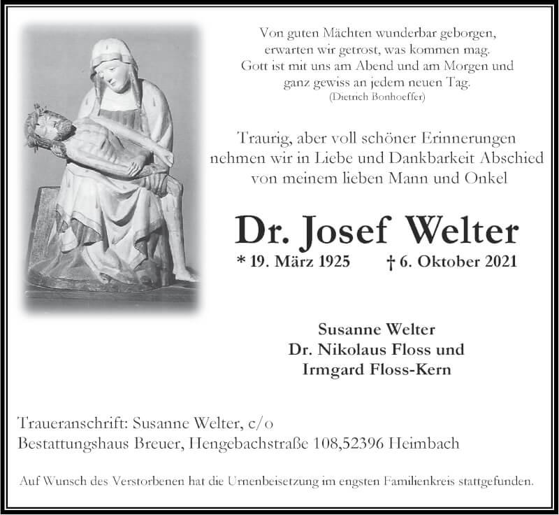 Traueranzeige für Josef Welter vom 17.10.2021 aus Zeitung am Sonntag