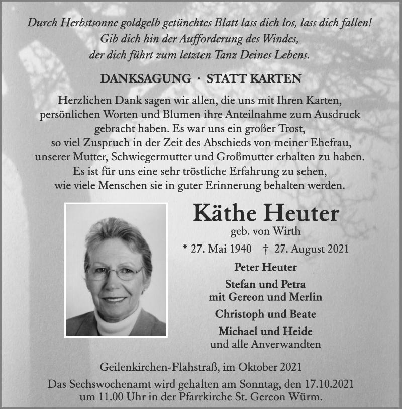 Traueranzeige für Käthe Heuter vom 13.10.2021 aus Aachener Zeitung / Aachener Nachrichten