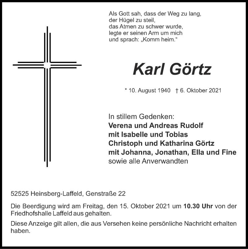 Traueranzeige für Karl Görtz vom 10.10.2021 aus Zeitung am Sonntag