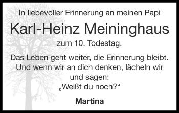 Traueranzeige von Karl-Heinz Meininghaus von Zeitung am Sonntag