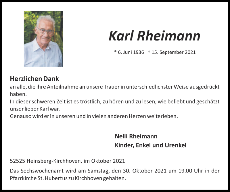 Traueranzeige für Karl Rheimann vom 24.10.2021 aus Zeitung am Sonntag