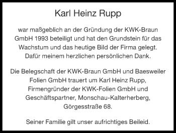 Traueranzeige von Karl Heinz Rupp von Zeitung am Sonntag