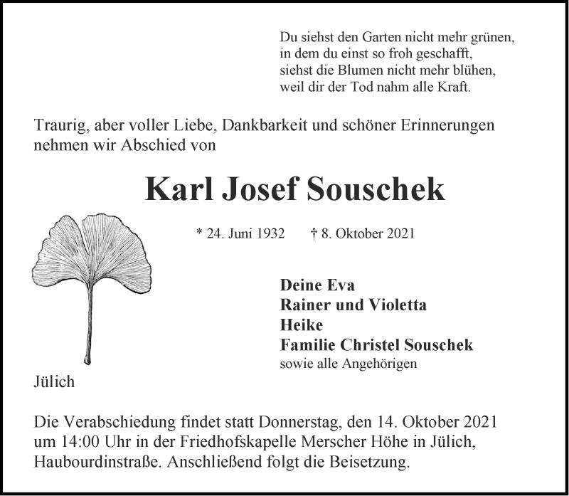 Traueranzeige für Karl Josef Souschek vom 12.10.2021 aus Aachener Zeitung / Aachener Nachrichten