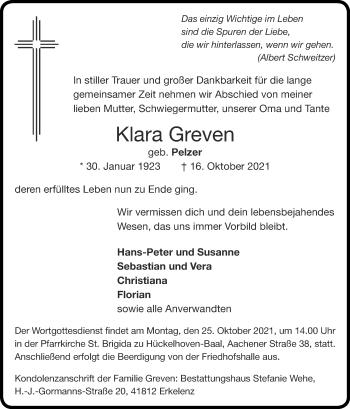 Traueranzeige von Klara Greven von Zeitung am Sonntag