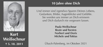 Traueranzeige von Kurt Weißschnur von Zeitung am Sonntag