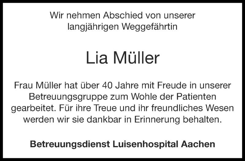 Traueranzeige für Lia Müller vom 02.10.2021 aus Aachener Zeitung / Aachener Nachrichten