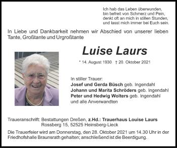 Traueranzeige von Luise Laurs von Zeitung am Sonntag