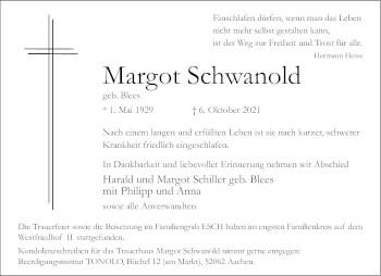 Traueranzeige von Margot Schwanold von Aachener Zeitung / Aachener Nachrichten