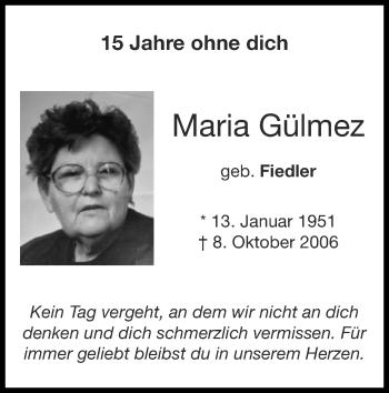 Traueranzeige von Maria Gülmez von Zeitung am Sonntag