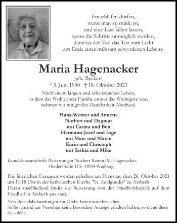Traueranzeige von Maria Hagenacker von Zeitung am Sonntag