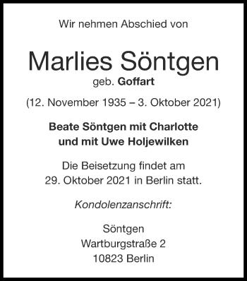 Traueranzeige von Marlies Söntgen von Zeitung am Sonntag