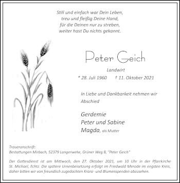 Traueranzeige von Peter Geich von Aachener Zeitung / Aachener Nachrichten