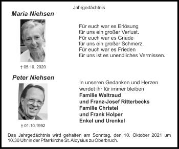 Traueranzeige von Peter Niehsen von Zeitung am Sonntag
