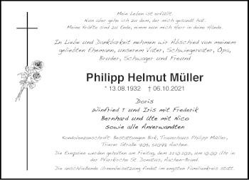 Traueranzeige von Philipp Helmut Müller von Aachener Zeitung / Aachener Nachrichten