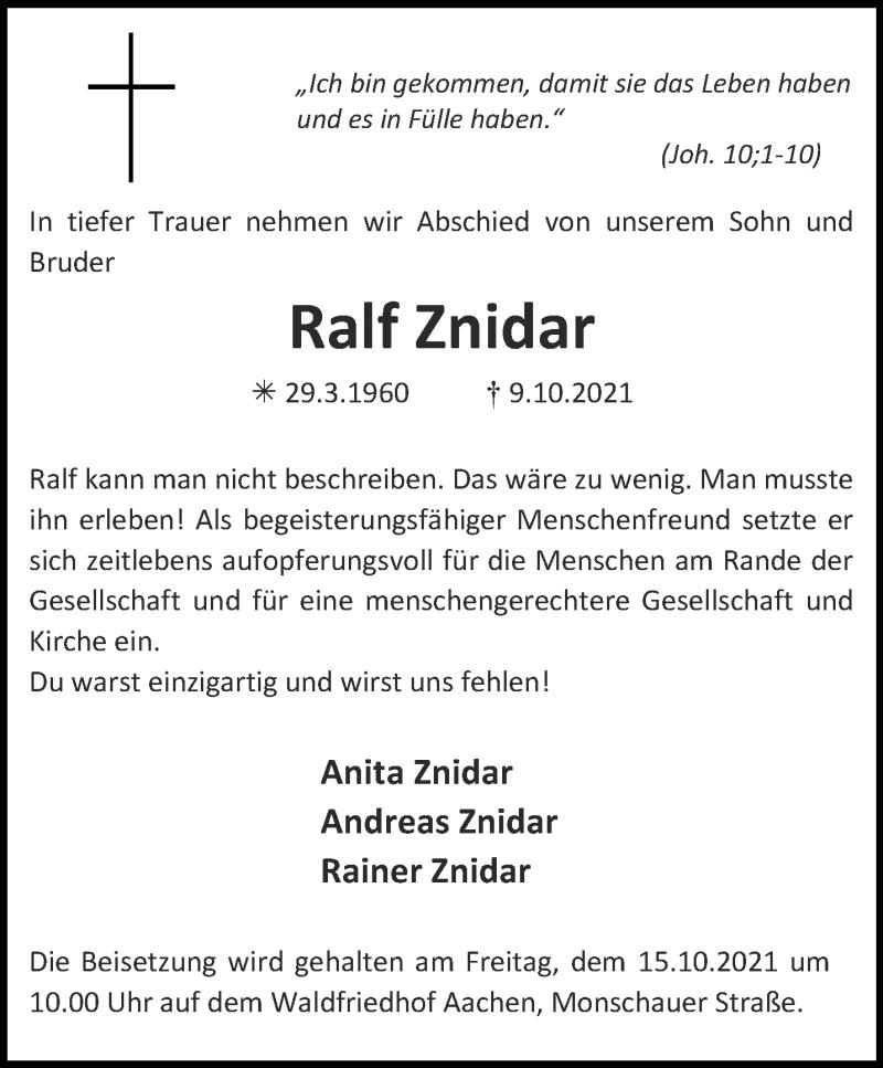 Traueranzeige für Ralf Znidar vom 13.10.2021 aus Aachener Zeitung / Aachener Nachrichten