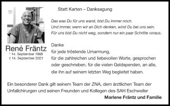 Traueranzeige von Renè Fräntz von Zeitung am Sonntag
