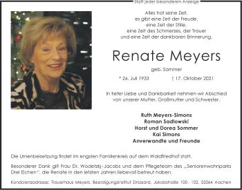 Traueranzeige von Renate Meyers von Aachener Zeitung / Aachener Nachrichten