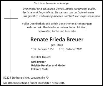 Traueranzeige von Renate Frieda Breuer von Zeitung am Sonntag