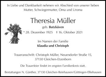 Traueranzeige von Theresia Müller von Zeitung am Sonntag