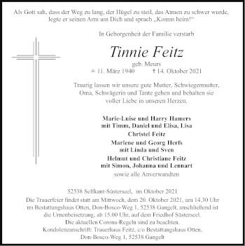 Traueranzeige von Tinnie Feitz von Zeitung am Sonntag