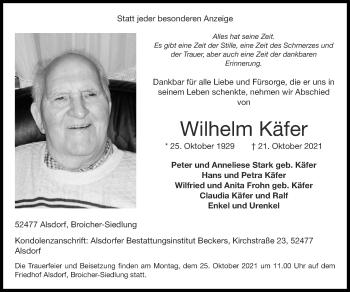 Traueranzeige von Wilhelm Käfer von Zeitung am Sonntag