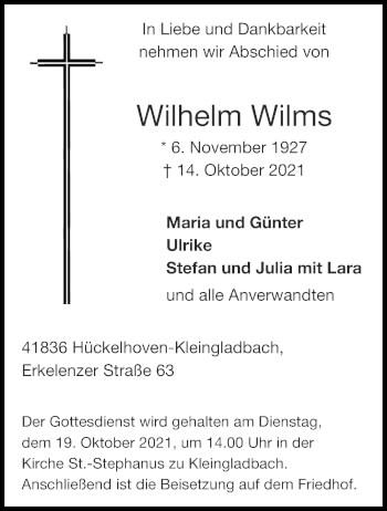 Traueranzeige von Wilhelm Wilms von Aachener Zeitung / Aachener Nachrichten