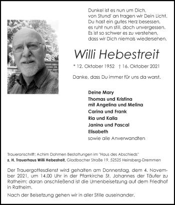 Traueranzeige von Willi Hebestreit von Zeitung am Sonntag
