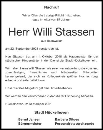 Traueranzeige von Willi Stassen von Zeitung am Sonntag