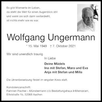 Traueranzeige von Wolfgang Ungermann von Aachener Zeitung / Aachener Nachrichten
