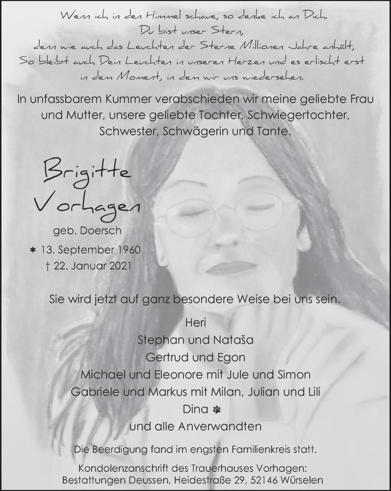 Traueranzeige für Brigitte Vorhagen vom 14.02.2021 aus Zeitung am Sonntag