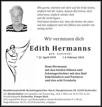 Traueranzeige von Edith Hermanns von Zeitung am Sonntag