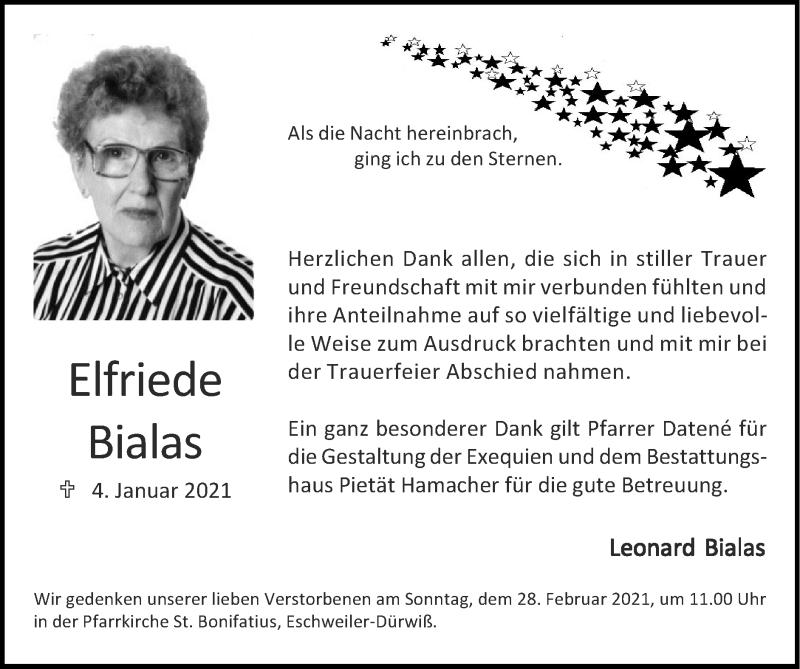 Traueranzeige für Elfriede Bialas vom 21.02.2021 aus Zeitung am Sonntag
