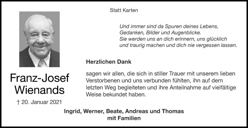 Traueranzeige für Franz-Josef Wienands vom 27.02.2021 aus Aachener Zeitung / Aachener Nachrichten