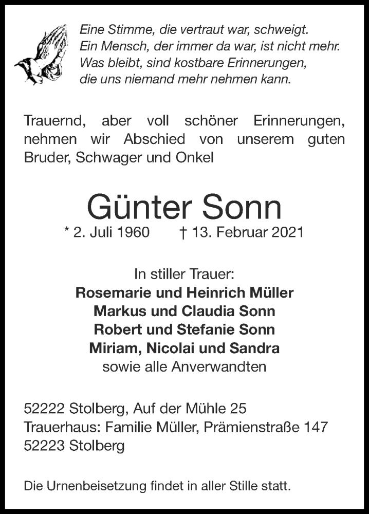 Traueranzeige für Günter Sonn vom 21.02.2021 aus Zeitung am Sonntag