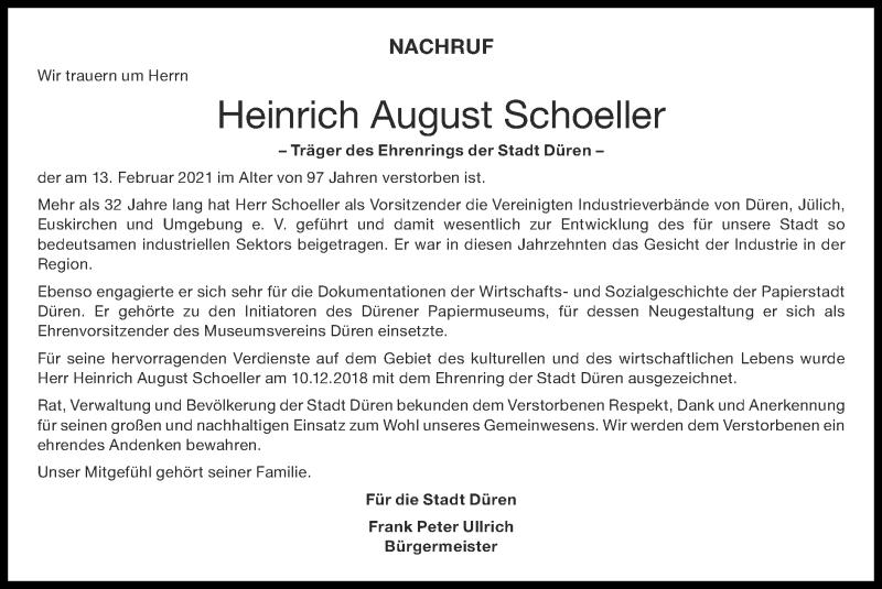 Traueranzeige für Heinrich August Schoeller vom 21.02.2021 aus Zeitung am Sonntag