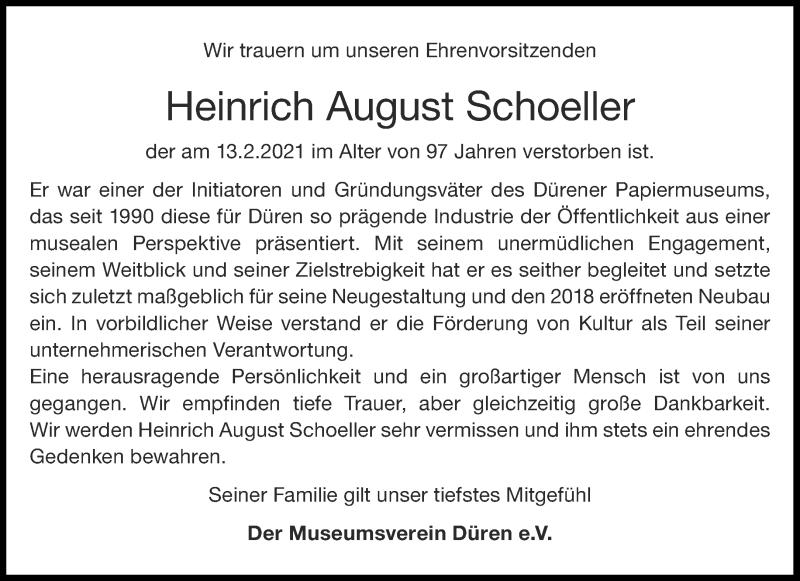 Traueranzeige für Heinrich August Schoeller vom 20.02.2021 aus Aachener Zeitung / Aachener Nachrichten