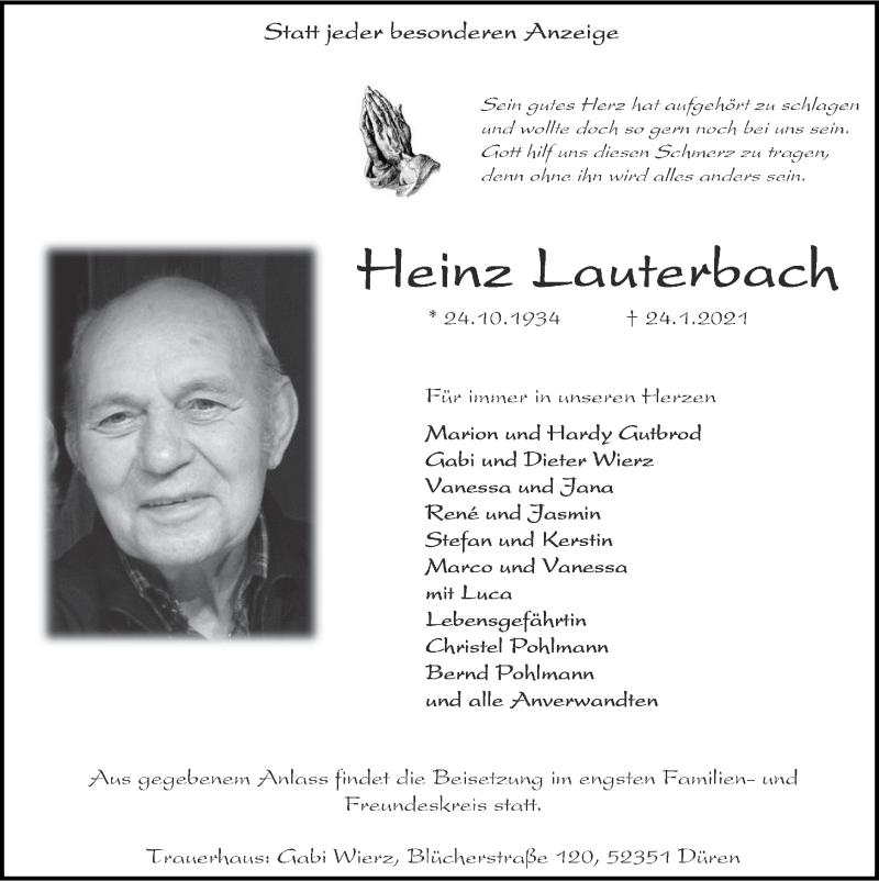 Traueranzeige für Heinz Lauterbach vom 07.02.2021 aus Zeitung am Sonntag