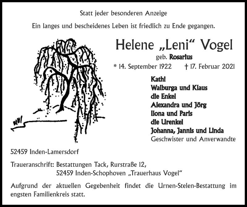 Traueranzeige für Helene Vogel vom 21.02.2021 aus Zeitung am Sonntag